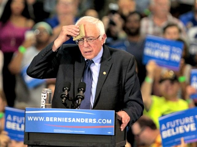 Bernie Sanders Wipes Brow John Sommers II Getty