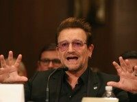 Bono, lead singer of the rock band U2 and co-founder of ONE, a non-profit, non-partisan advocacy organization, testifies during a Senate Appropriations Subcommittee hearing on Capitol Hill, April 12, 2016 in Washington, DC.