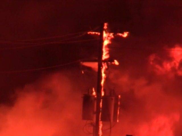 Burning Telephone Pole