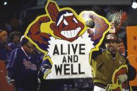 Baseball: World Series Game 4. View of Cleveland Indians fans in stands holding sign with Chief Wahoo logo that reads ALIVE AND WELL during game vs Florida Marlins at Jacobs Field. Game 4. Cleveland, OH 10/22/1997 CREDIT: Heinz Kluetmeier (Photo by Heinz Kluetmeier /Sports Illustrated/Getty Images) (Set Number: X53812 )