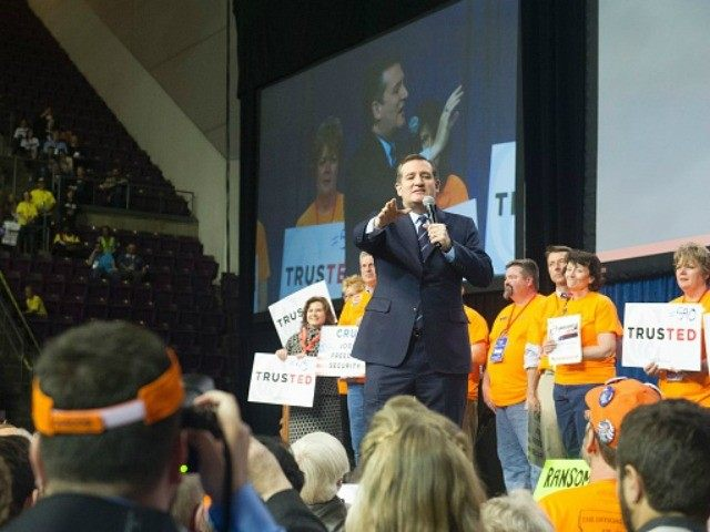 Republican presidential candidate Sen. Ted Cruz (R-TX) addresses the Republican Convention at The Broadmoor World Arena in Colorado Springs, Colorado on Saturday, April 9, 2016.