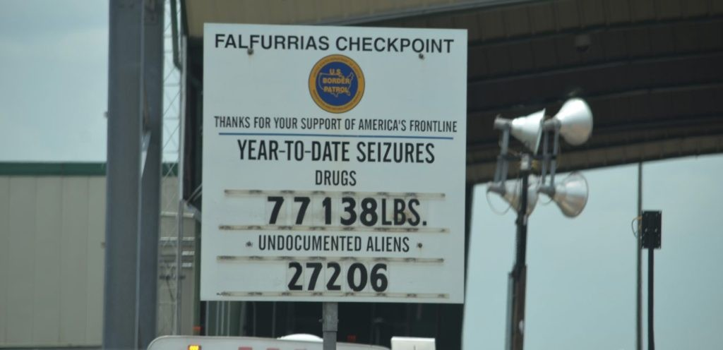 Border Patrol sign at Falfurrias Checkpoint in Brooks County shows count of illegal immigrant apprehensions and drug seizures. (File Photo: Breirbart Texas/Bob Price)