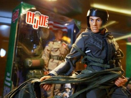 A G.I. Joe Paratrooper action figure is seen on display at the 2003 Hasbro International G.I. Joe Collectors' Convention June 27, 2003 in Burlingame, California.