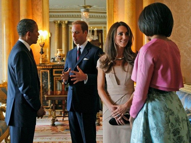 President Barack Obama (L) and US First Lady Michelle Obama (R) meet Britain's Prince William (2nd L) and his wife Catherine (2nd R) at Buckingham Palace, in central London, on May 24, 2011. US President Barack Obama Tuesday basked in the lavish royal pageantry of a state visit to Britain, …