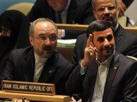NEW YORK, NY - SEPTEMBER 22: Iranian President Mahmoud Ahmadinejad (R) waits to address the 66th General Assembly Session at the United Nations on September 22, 2011 in New York City. The annual event, which is being dominated this year by the Palestinians' bid for full membership, gathers more than …