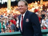 Former Boston Red Sox pitcher Curt Schilling on August 3, 2012 at Fenway Park in Boston, Massachusetts.