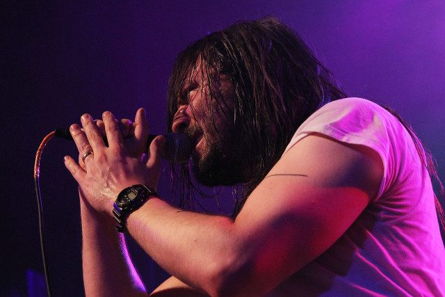 "NEW YORK, NY - DECEMBER 31: Andrew W.K. performs at ""Get Wet"" a New Years Eve party at Irving Plaza on December 31, 2013 in New York City. (Photo by Mireya Acierto/Getty Images)"
