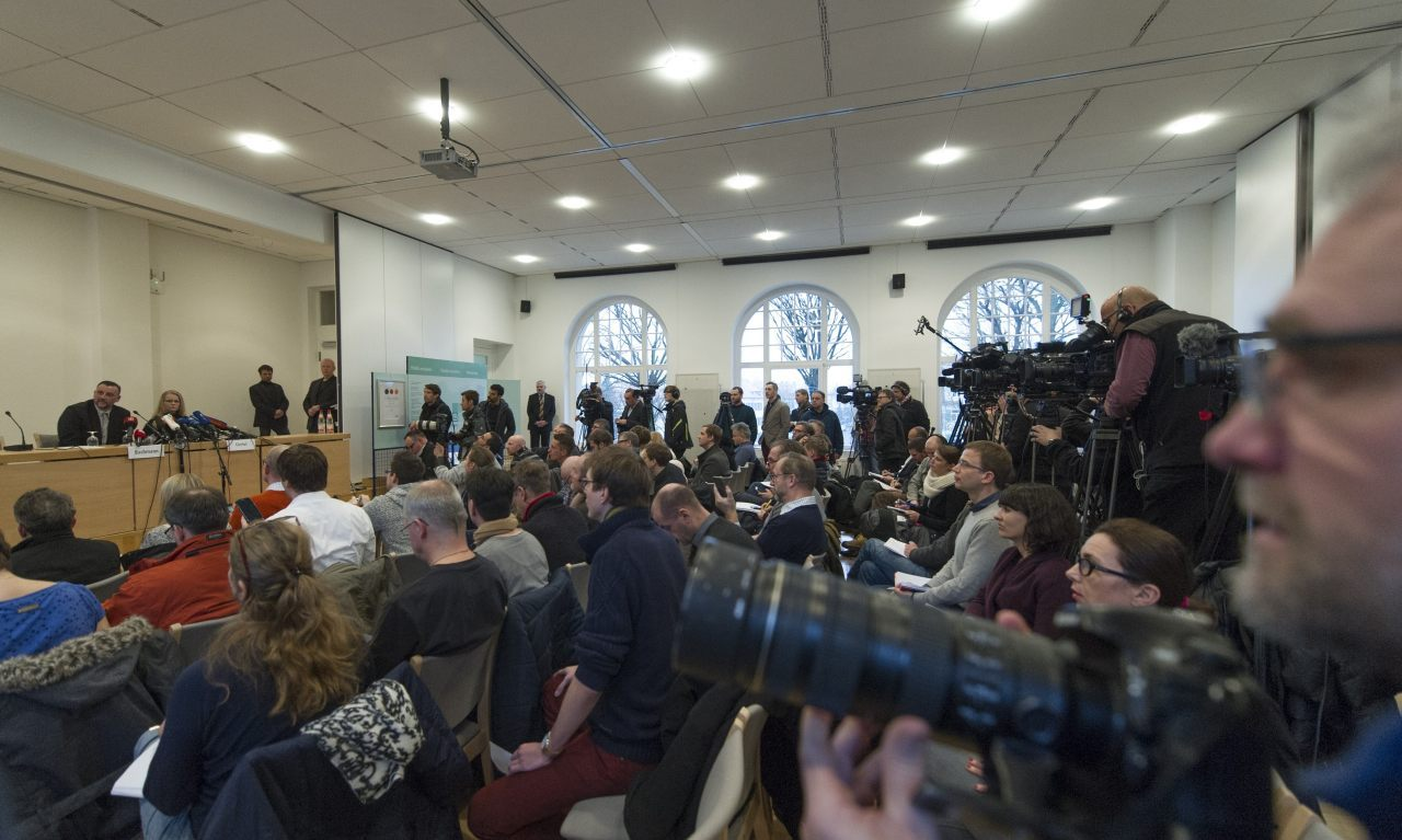 Lutz Bachmann (L), leader of the anti-Islamic Pegida (Patriotic Europeans Against the Islamisation of the Occident) movement and Pegida spokeswoman Kathrin Oertel give a press conference on January 19, 2015 in Dresden, easatern Germany. German police banned a planned rally by the movement and other public open-air gatherings in the eastern city of Dresden on January 19, 2015, citing a terrorist threat. AFP PHOTO / ROBERT MICHAEL (Photo credit should read ROBERT MICHAEL/AFP/Getty Images)