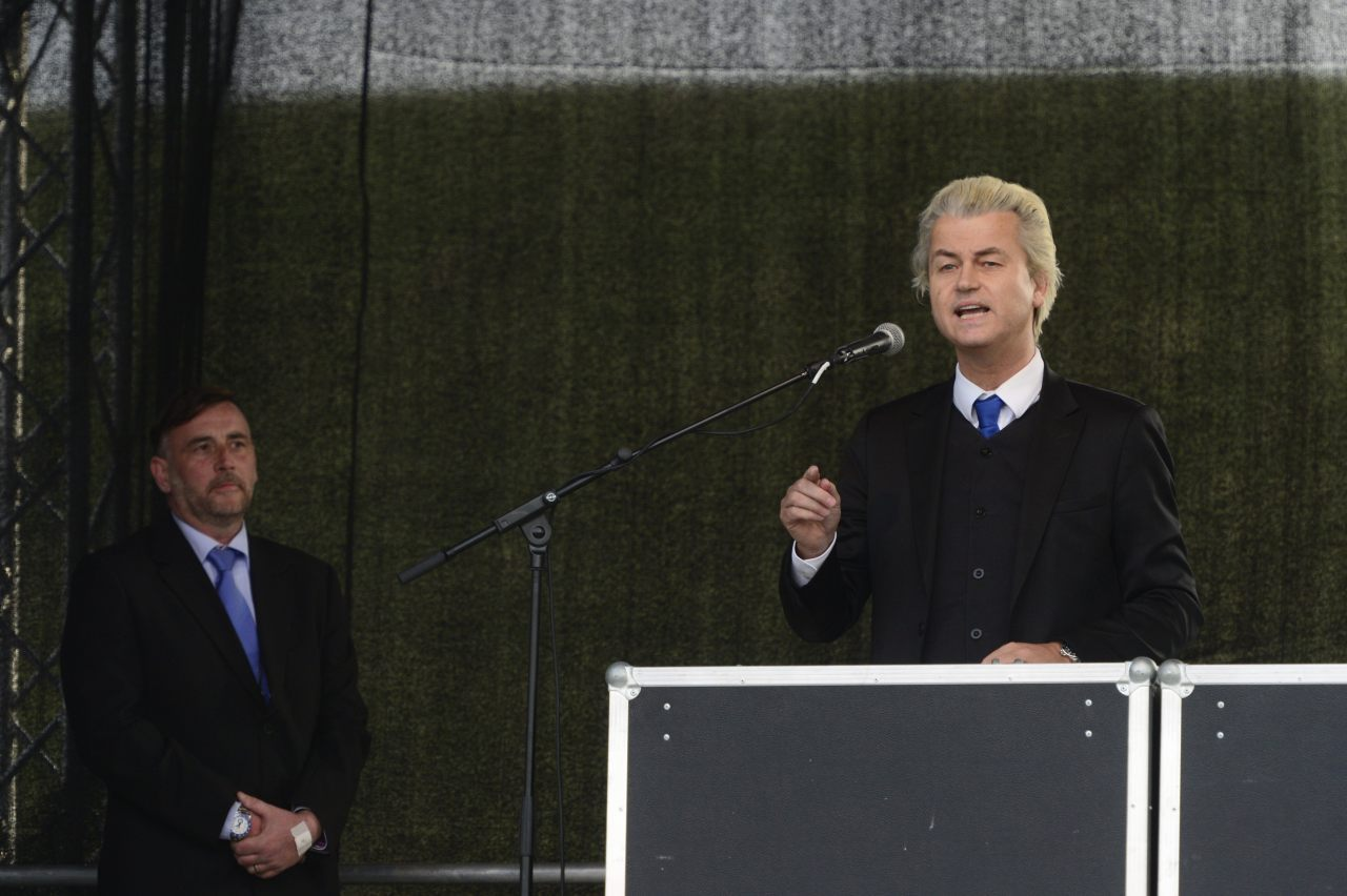 "Dutch right-wing Party for Freedom (PVV) leader Geert Wilders (R) addresses a rally with Lutz Bachmann (L) leader of German right-wing movement PEGIDA (Patriotic Europeans Against the Islamisation of the Occident) on April 13, 2015 in Dresden, south-eastern Germany. The PEGIDA marches -- which have voiced anger against Islam and ""criminal asylum seekers"" and vented a host of other grievances -- began in Dresden in October 2014 with several hundred supporters and have since steadily grown. (Photo credit should read ROBERT MICHAEL/AFP/Getty Images)"