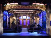 The SNL stage on display during a media preview on May 29, 2015 at the Saturday Night Live: The Exhibition, celebrating the NBC programs 40-year history. The exhibit, which opens May 30, will illustrate a week in the life of SNL's offices and studios in 30 Rockefeller Center - complete …