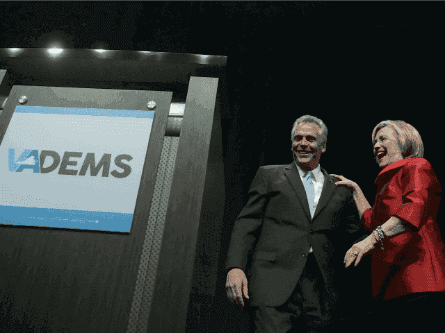 Dem presidential candidate Hillary Clinton and Virginia Governor Terry McAuliffe on June 26, 2015 in Fairfax, Virginia.