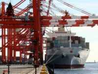 An international freighter berths at the international cargo terminal at Tokyo's port on November 19, 2015. Japan posted a surprise trade surplus in October as the value of energy imports slumped on falling oil prices. The surplus came even as the value of exports declined for the first time since …