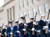 Honor guard arrive for an honor cordon with US Secretary of Defense Ashton Carter and Germany's Minister of Defense Ursula von der Leyen at the Pentagon March 8, 2016 in Washington, DC. / AFP / Brendan Smialowski (Photo credit should read BRENDAN SMIALOWSKI/AFP/Getty Images)