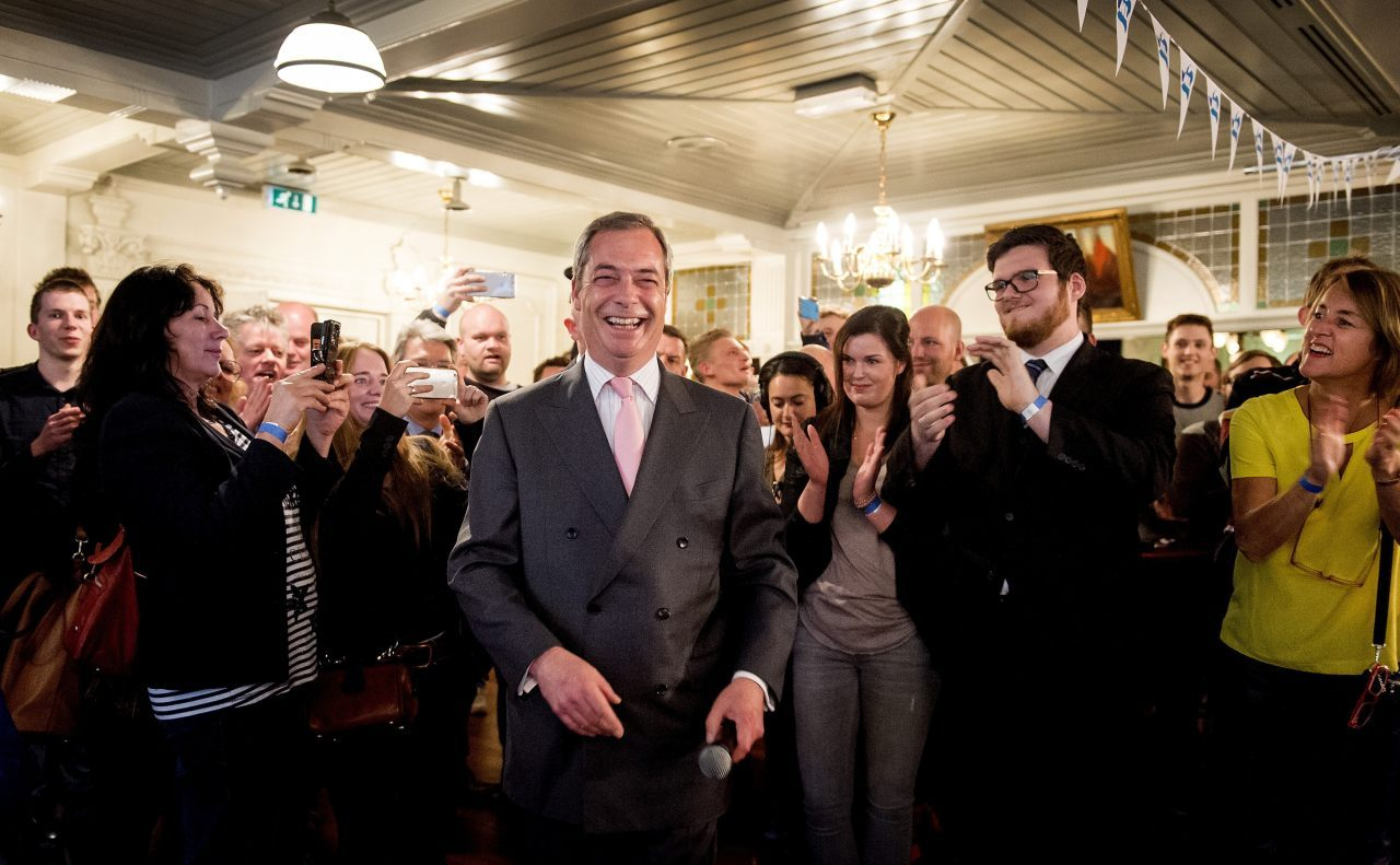 Nigel Farage, leader of the British anti-EU party UKip, smiles as he visits Volendam, on April 4, 2016, two days before the Dutch referendum on the EU's treaty of association with Ukraine. Farage has been invited by right-wing party VNL and the GeenPeil organisation which campaigned for the referendum, to drum up interest in the Dutch vote.  / AFP / ANP / Koen van Weel / Netherlands OUT        (Photo credit should read KOEN VAN WEEL/AFP/Getty Images)