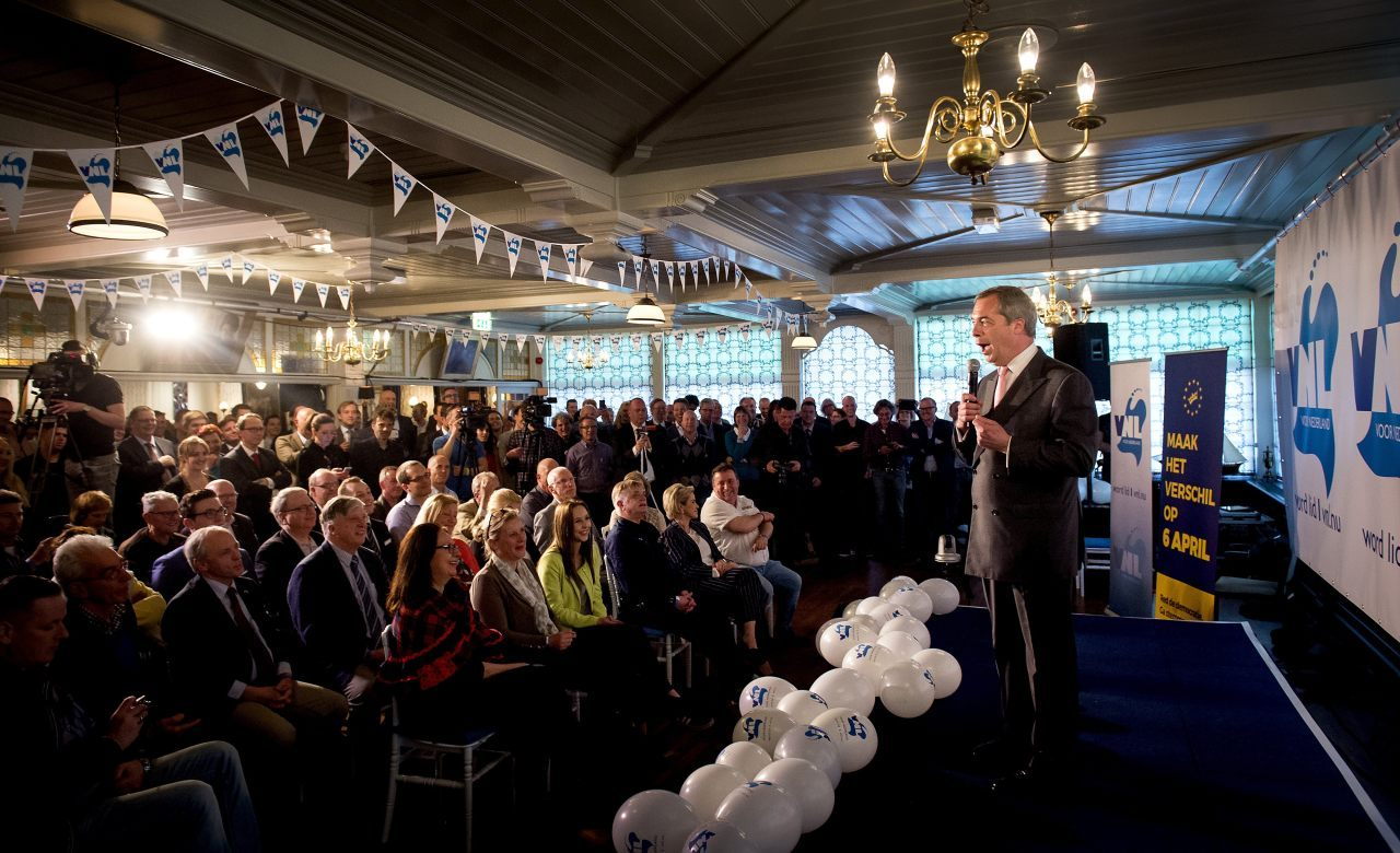Nigel Farage, leader of the British anti-EU party UKip, speaks as he visits Volendam, on April 4, 2016, two days before the Dutch referendum on the EU's treaty of association with Ukraine. Farage has been invited by right-wing party VNL and the GeenPeil organisation which campaigned for the referendum, to drum up interest in the Dutch vote.  / AFP / ANP / Koen van Weel / Netherlands OUT        (Photo credit should read KOEN VAN WEEL/AFP/Getty Images)