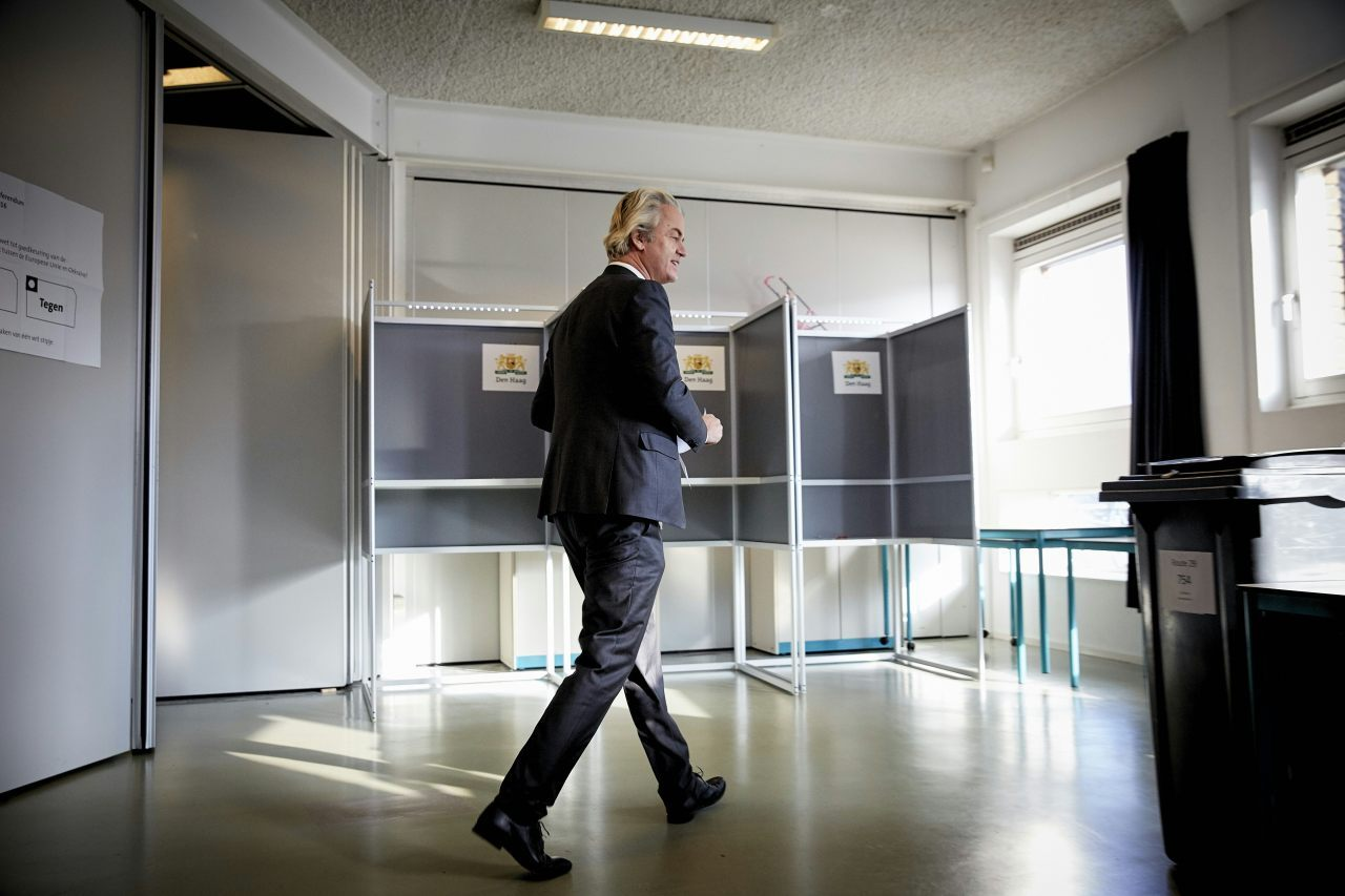 The leader of Dutch rightwing party PVV Geert Wilders casts his vote in The Hague, in a non-binding referendum on an EU cooperation deal with Ukraine that is being held in the Netherlands, on April 6 2016. Eurosceptics are seeking to use the vote as a proxy poll on ties with the European Union. / AFP / ANP / Martijn Beekman / Netherlands OUT (Photo credit should read MARTIJN BEEKMAN/AFP/Getty Images)