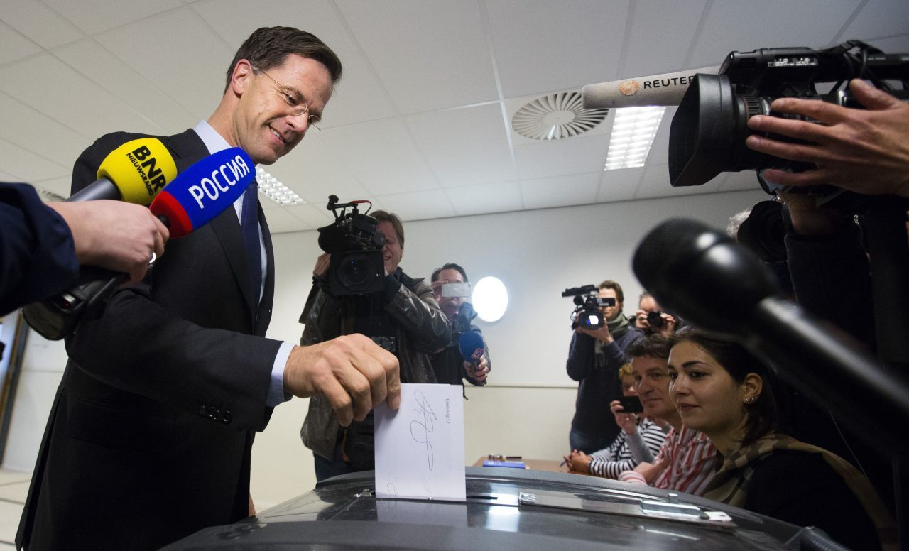 Dutch Prime Minister Mark Rutte casts his vote in the referendum on the ratification of the association agreement between the EU and Ukraine held in the Netherlands, in The Hague, on April 6, 2016. Dutch people began voting on April 6 on whether to back a key EU pact with Ukraine in a referendum triggered by grassroots eurosceptic groups and seen as a yardstick on ties with Brussels. / AFP / ANP / Bart Maat / Netherlands OUT (Photo credit should read BART MAAT/AFP/Getty Images)