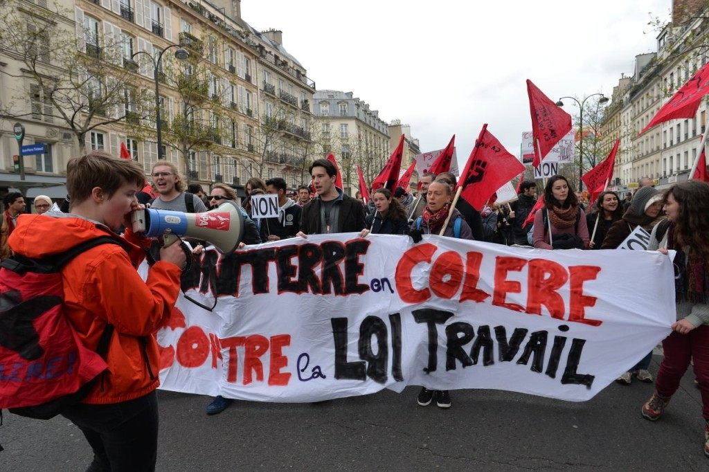 "The banner reads ""Nanterre University angry against the Labour law"". (MIGUEL MEDINA/AFP/Getty Images)"