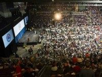 Supporters of Republican presidential candidate Sen. Ted Cruz attend the Republican Convention at The Broadmoor World Arena in Colorado Springs, Colorado on April 9, 2016.