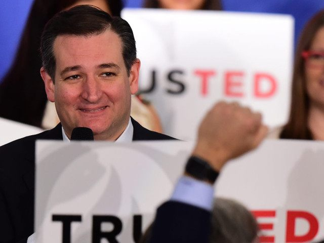 Republican presidential hopeful Senator Ted Cruz addresses supporters at a rally in Irvine, California on April 11, 2016. Cruz, the Texas Senator, chipped away at Donald Trump's lead by taking all 13 Colorado delegates at stake in a state Republican convention April 9, notching his fourth win in a row …