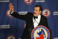 NEW YORK, NY - APRIL 14: Republican presidential candidate Sen. Ted Cruz (R-TX) waves to the guests after speaking at the 2016 annual New York State Republican Gala on April 14, 2016 in New York City. Republican presidential candidates Donald Trump, Sen. Ted Cruz (R-TX) and Ohio Gov. John Kasich all appeared at the event, which comes days before New York will hold its primary. (Photo by