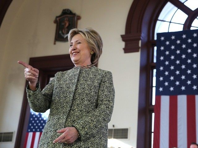Democratic presidential candidate former Secretary of State Hillary Clinton greets supporters during a campaign rally at Snug Harbor's Great Hall on April 17, 2016 in the Staten Island borough of New York City. With two days to go before the New York presidential primary, Hillary Clinton is campaigning in and …