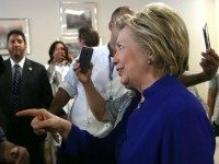 Democratic presidential candidate, former U.S. Secretary of State Hillary Clinton greets workers at St. John's Riverside Hospital on April 17, 2016 in Yonkers, New York.