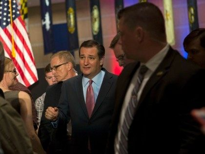 Republican Presidential candidate Senator Ted Cruz (R-TX) shakes hands and poses for photographs with his supporters at his Pennsylvania kick off event at the National Constitution Center on April 19, 2016 in Philadelphia.
