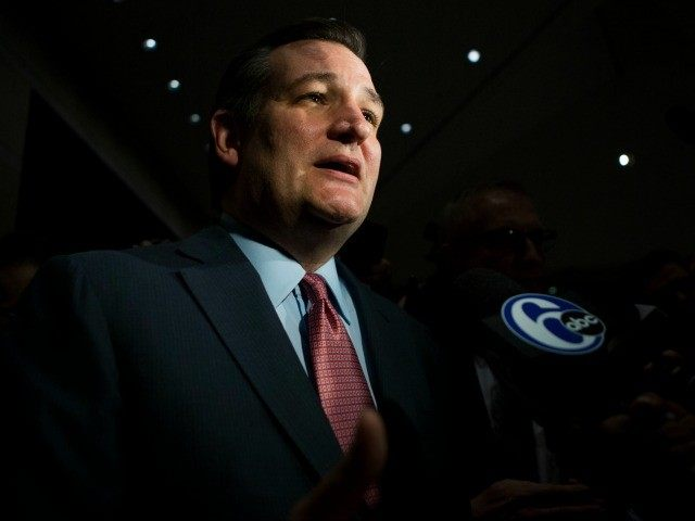 Republican Presidential candidate Senator Ted Cruz (R-TX) answers questions from the media during his Pennsylvania kick off event at the National Constitution Center on April 19, 2016 in Philadelphia.
