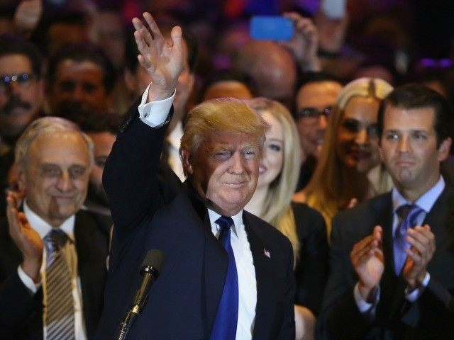 Republican Presidential candidate Donald Trump waves to the crowd after winning the New York state primary on April 19, 2016 in New York City. Trump held the press conference at Trump Tower in Manhattan. (Photo by