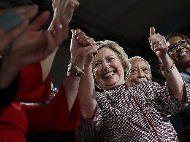Democratic presidential candidate former Secretary of State Hillary Clinton speaks during a primary election night gathering on April 19, 2016 in New York City. Hillary Clinton defeated democratic rival U.S. Sen. Bernie Sanders in the New York presidential primary.
