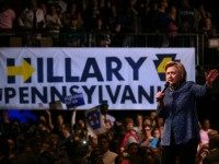 Democratic presidential candidate former Secretary of State Hillary Clinton speaks during a campaign rally at The Fillmore on April 20, 2016 in Philadelphia, Pennsylvania.