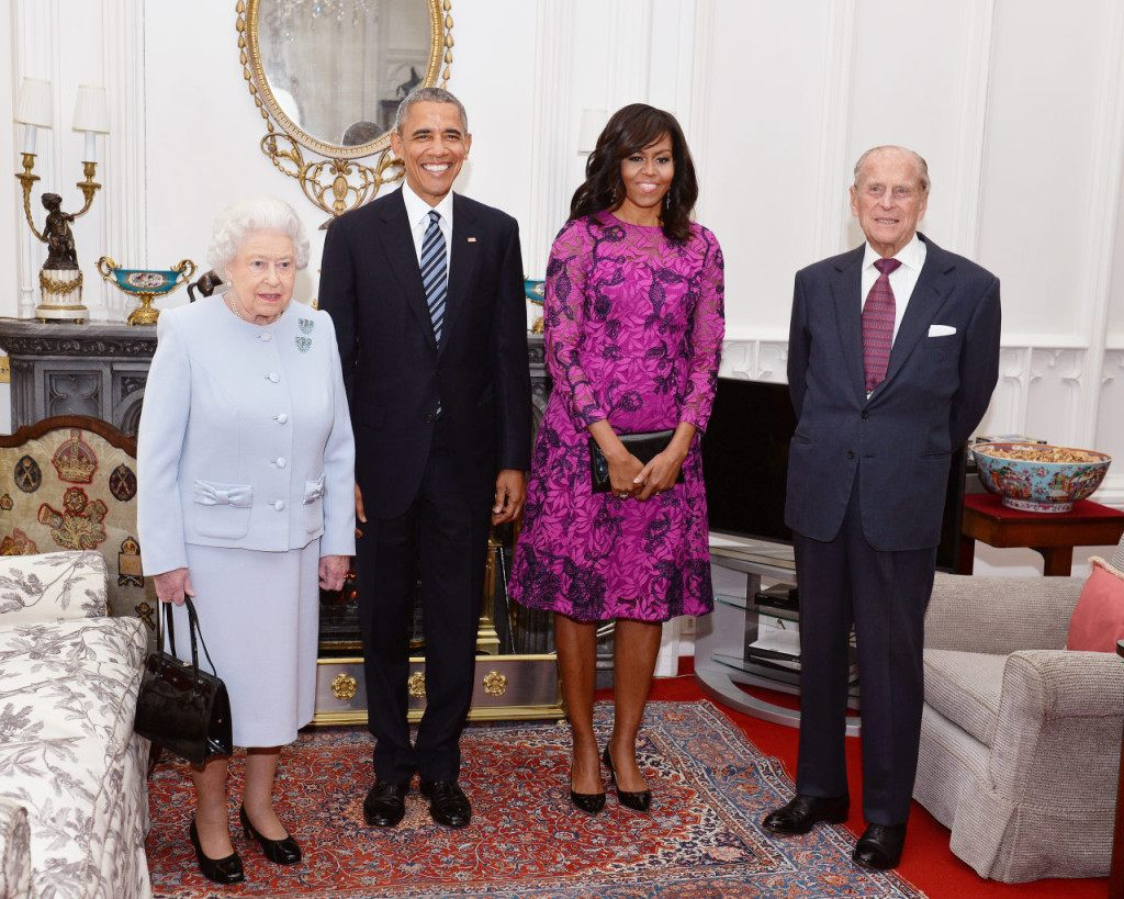 WINDSOR, ENGLAND - APRIL 22: Queen Elizabeth II (L) and Prince Philip, Duke of Edinburgh (R) stand with US President Barack Obama and First Lady of the United States, Michelle Obama in the Oak Room at Windsor Castle ahead of a private lunch hosted by the Queen on April 22, 2016 in Windsor, England. The President and his wife are currently on a brief visit to the UK where they will have lunch with HM Queen Elizabeth II at Windsor Castle and dinner with Prince William and his wife Catherine, Duchess of Cambridge at Kensington Palace. Mr Obama will visit 10 Downing Street on Friday afternoon where he is to hold a joint press conference with British Prime Minister David Cameron and is expected to make his case for the UK to remain inside the European Union.