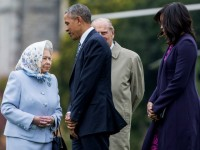 US President Barack Obama and his wife First Lady Michelle Obama are greeted by Queen Elizabeth II and Prince Phillip, Duke of Edinburgh after landing by helicopter at Windsor Castle on April 22, 2016 in Windsor, England.