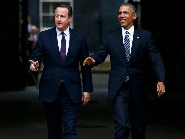 British Prime Minister David Cameron and US President Barack Obama leave Downing Street after their meeting on April 22, 2016 in London, England.