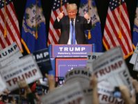 Republican Presidential frontrunner Donald Trump speaks at a campaign rally on April 23, 2016 in Waterbury, Connecticut