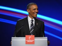U.S. President Barack Obama speaks at the opening evening of the Hannover Messe trade fair on April 24, 2016 in Hanover, Germany. Obama met with German Chancellor Angela Merkel in Hanover earlier in the day and is scheduled to tour exhibition halls at the fair tomorrow. Hannover Messe is the …