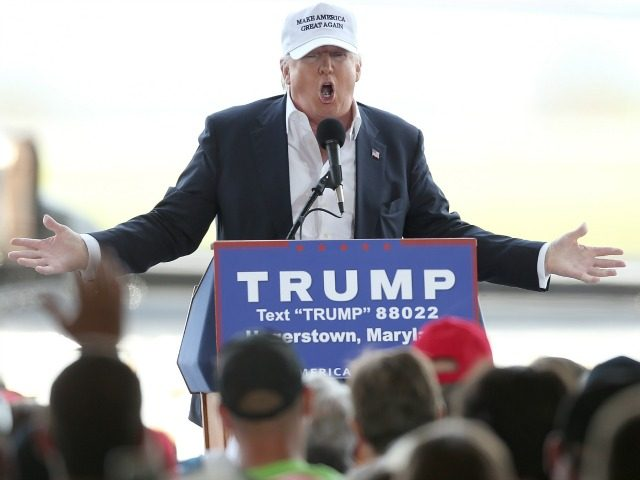 Republican presidential candidate Donald Trump speaks while campaigning at the Hagerstown airport April 24, 2016 in Hagerstown, Maryland.