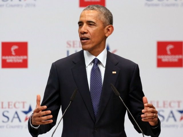 President Barack Obama gives opening remarks at the Hannover Messe industrial trade fair on April 25, 2016 in Hanover, Germany.