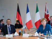 German Chancellor Angela Merkel and U.S. President Barack Obama meet with European leaders at Herrenhausen Palace on April 25, 2016 in Hanover, Germany.