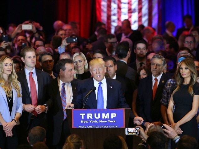 Republican presidential candidate Donald Trump speaks to supporters and the media with New Jersey Governor Chris Christie behind him at Trump Towers following the conclusion of primaries Tuesday in northeastern states on April 26, 2016 in New York, NY