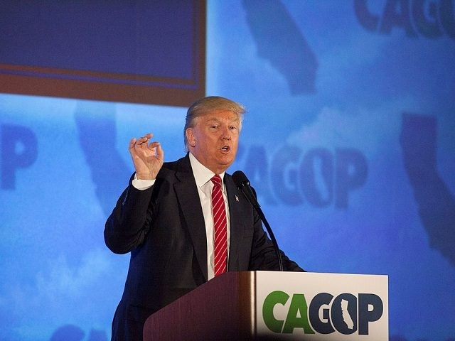 BURLINGAME, CA - APRIL 29: Republican presidential candidate Donald Trump addresses the California Republican Party Convention on April 29, 2016 in Burlingame, California. Trump is preparing for the California Primary on June 7. (Photo by Ramin Talaie/Getty Images)