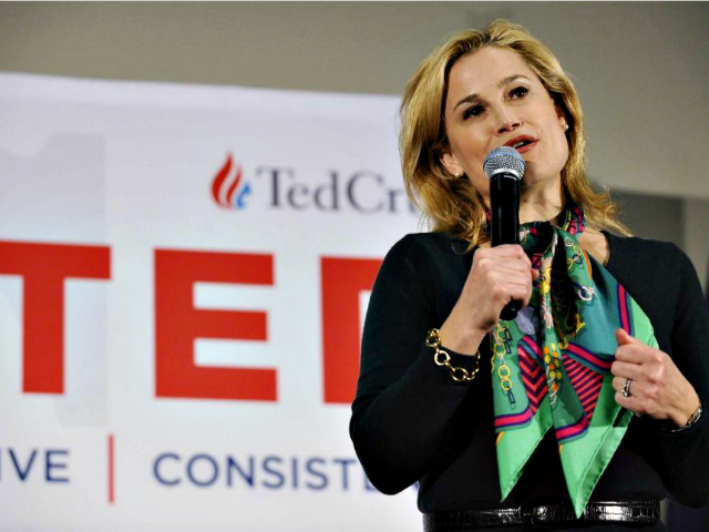 Heidi Cruz with mic Rainier EhrhardtAP