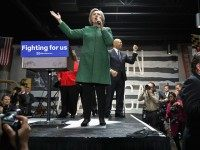 Democratic presidential candidate Hillary Clinton holds a campaign rally at City Garage April 10, 2016 in Baltimore, Maryland.
