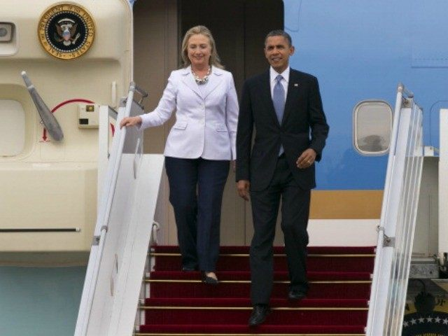 President Barack Obama and Secretary of State Hillary Clinto on November 19, 2012 in Yangon, Myanmar.