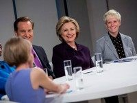 : Democratic presidential candidate, former U.S. Secretary of State Hillary Clinton attends a roundtable discussion on pay equality April 12, 2016 in New York City.