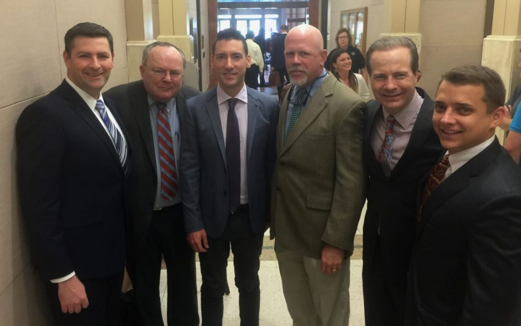 From left to right: Hon. Peter Breen and Thomas Brejcha, attorneys from the Thomas Moore Society (note: Brejcha is President of Thomas Moore Society); David Daleiden; Terry Yates, lead local counsel; Jared Woodfill; Briscoe Cain, Texas Legal Counsel for Operation Rescue.