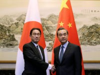 Japanese Foreign Minister Fumio Kishida (L) shakes hands with China's Foreign Minister Wang Yi during a meeting at Diaoyutai State Guesthouse, in Beijing, China, April 30, 2016. REUTERS/JASON LEE