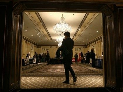 A job seeker enters the HireLive Career Fair on November 12, 2015 in San Francisco, California. The national unemployment rate stands at 5 percent.
