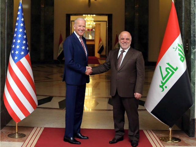 BAGHDAD, IRAQ - APRIL 28: Vice President of US Joe Biden meets Iraqi Prime Minister Haider al-Abadi (R) during his official visit in Baghdad, Iraq on April 28, 2016. (Photo by Pool / Iraq Prime Ministry Office/Anadolu Agency/Getty Images)
